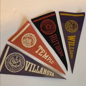 Set of 4 mini vintage felt college pennants